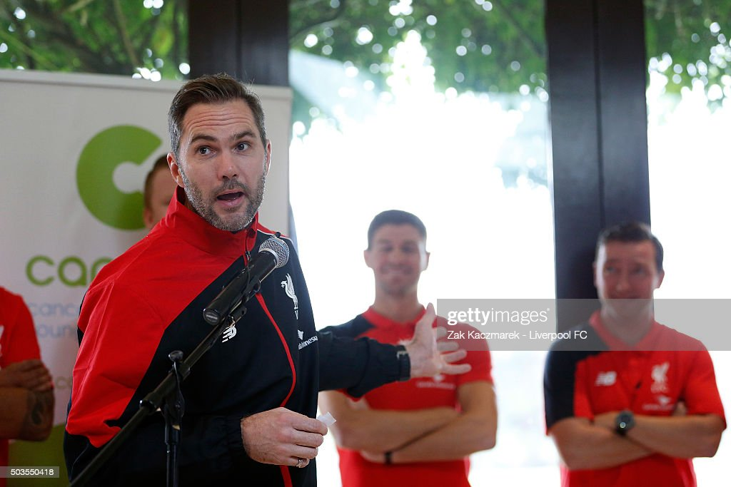 Jason McAteer speaks as Liverpool Legends attend a Canteen Australia event at Centennial Park on January 6, 2016 in Sydney, Australia. Canteen are an Australian organisation for young people living with cancer who offer support, information, and resources.