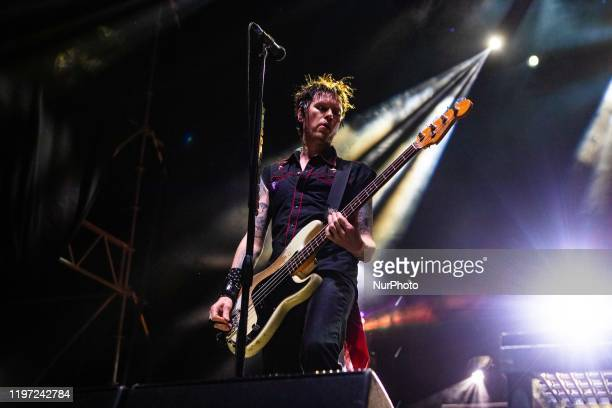 Jason McCaslin from Sum 41 performs live at Lorenzini District in Milan, Italy, on January 28 2020. Sum 41 is a Canadian rock band, from their...
