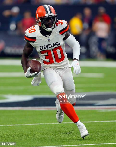 Jason McCourty of the Cleveland Browns intercepts a pass from Deshaun Watson of the Houston Texans and returns for a 56 yard touchdown at NRG Stadium...