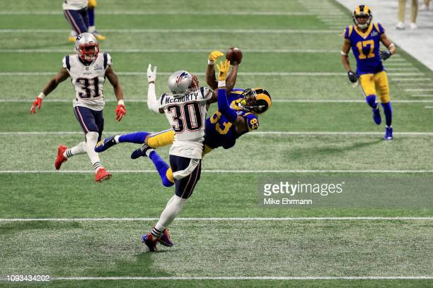 Jason McCourty of the New England Patriots defends a pass against Josh Reynolds of the Los Angeles Rams in the first half during Super Bowl LIII at...