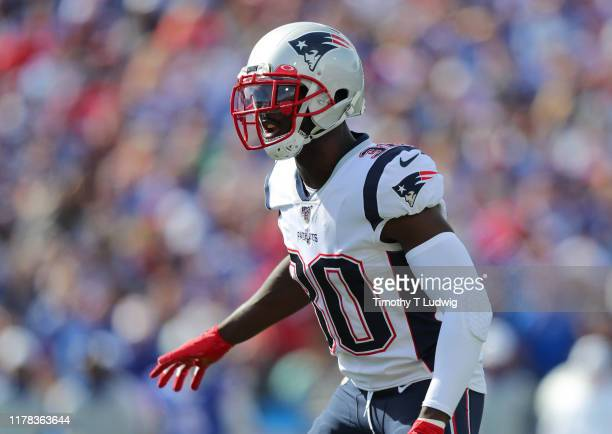Jason McCourty of the New England Patriots during the first half against the Buffalo Bills at New Era Field on September 29 2019 in Orchard Park New...