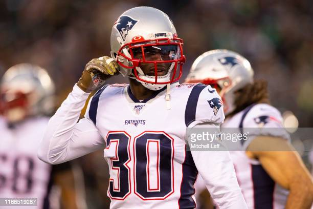 Jason McCourty of the New England Patriots looks on against the Philadelphia Eagles at Lincoln Financial Field on November 17 2019 in Philadelphia...