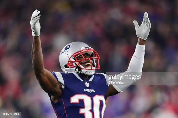 Jason McCourty of the New England Patriots reacts during the second half against the Minnesota Vikings at Gillette Stadium on December 2 2018 in...