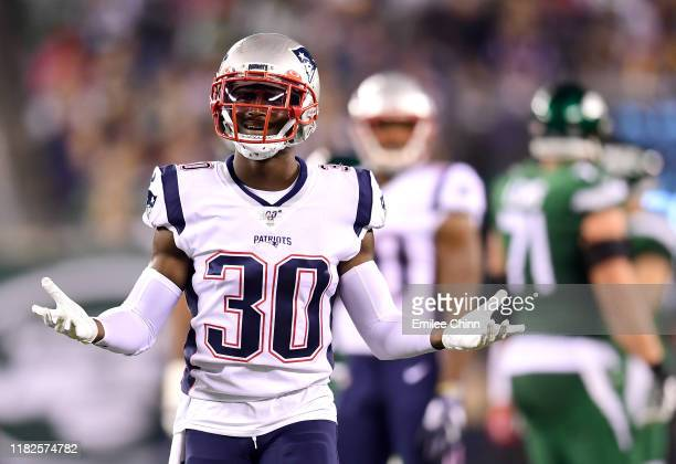 Jason McCourty of the New England Patriots reacts during the second half of their game against the New York Jets at MetLife Stadium on October 21...
