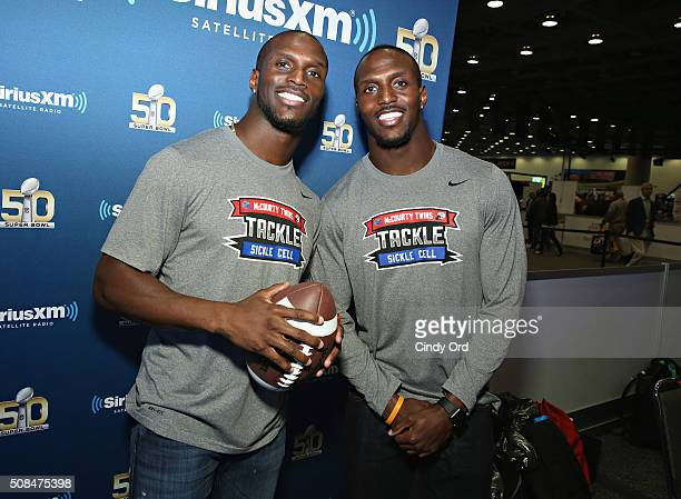 Jason McCourty of the Tennessee Titans and Devin McCourty of the New England Patriots visit the SiriusXM set at Super Bowl 50 Radio Row at the...