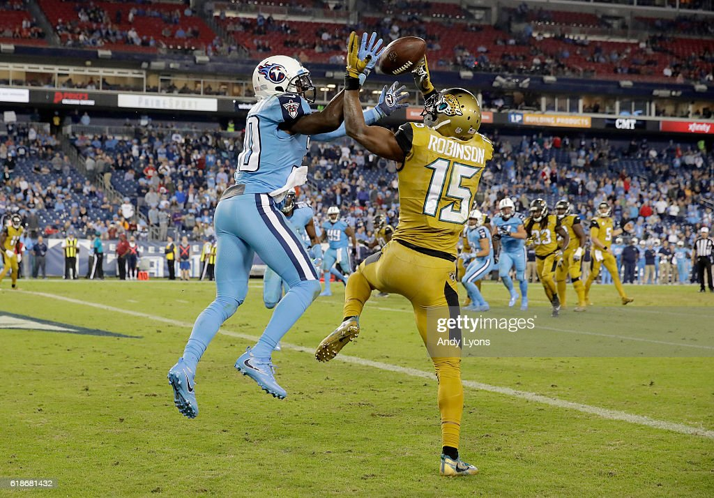 Jason McCourty #30 of the Tennessee Titans breaks up a pass intended for Allen Robinson #15 of the Jacksonville Jaguars at Nissan Stadium on October 27, 2016 in Nashville, Tennessee.