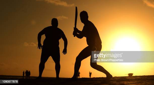 Jason McDermid from England prepares to hit the ball during a game of beach cricket at Maxwell beach on January 28 2019 near Bridgetown Barbados