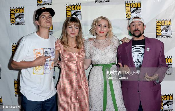 Jason Mewes Melissa Benoist Harley Quinn Smith and Kevin Smith attend the Kevin Smith Reboots Hall H Panel during 2019 ComicCon International at San...