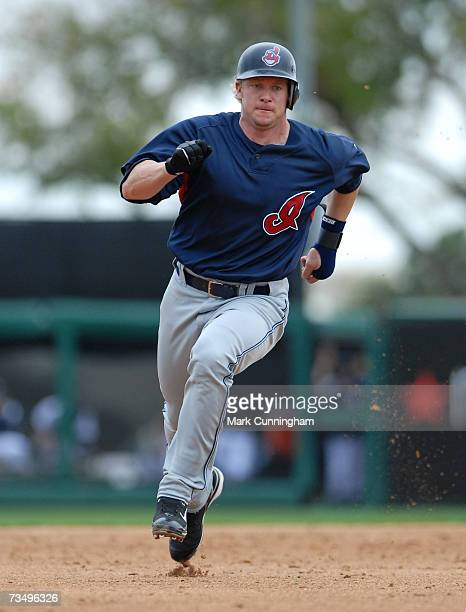 Jason Michaels of the Cleveland Indians runs during the game against the Detroit Tigers at Joker Marchant Stadium in Lakeland Florida on March 3 2007...