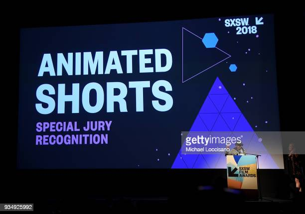 Jason Milov accepts the SXSW Animated Shorts award for 'JEOM' at the SXSW Film Awards show during the 2018 SXSW Conference and Festivals at Paramount...