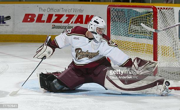 Jason Missiaen of the Peterborough Petes makes a toe save in a game against the London Knights on November 1 2007 at the Peterborough Memorial Centre...