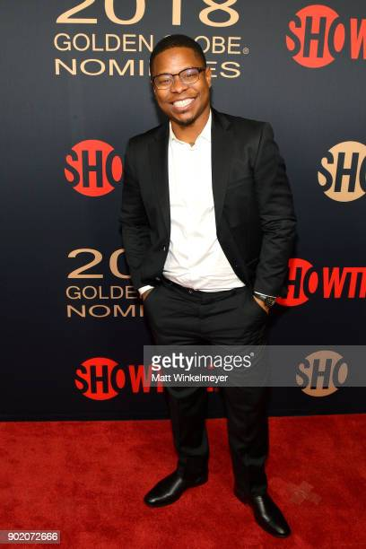 Jason Mitchell arrives for the Showtime Golden Globe Nominees Celebration at Sunset Tower on January 6 2018 in Los Angeles California