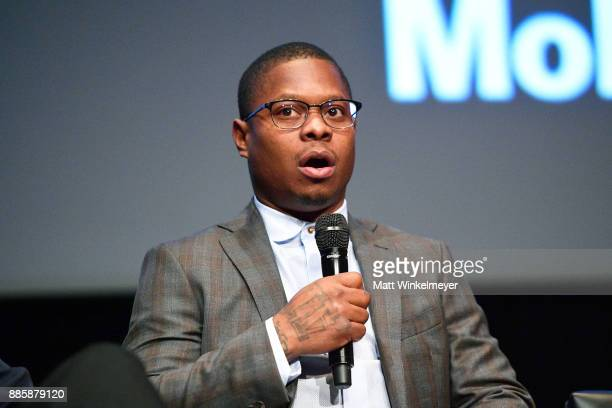 Jason Mitchell speaks onstage during the Hammer Museum presents The Contenders 2017 'Mudbound' at Hammer Museum on December 4 2017 in Los Angeles...