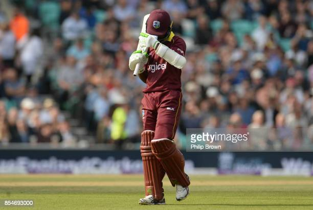 Jason Mohammed of the West Indies leaves the field after being dismissed during the 4th Royal London oneday international cricket match between...