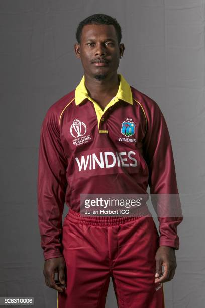Jason Mohammed of The West Indies poses for a picture during the West Indies Portrait Session for the ICC Cricket World Cup Qualifier at Meikles...