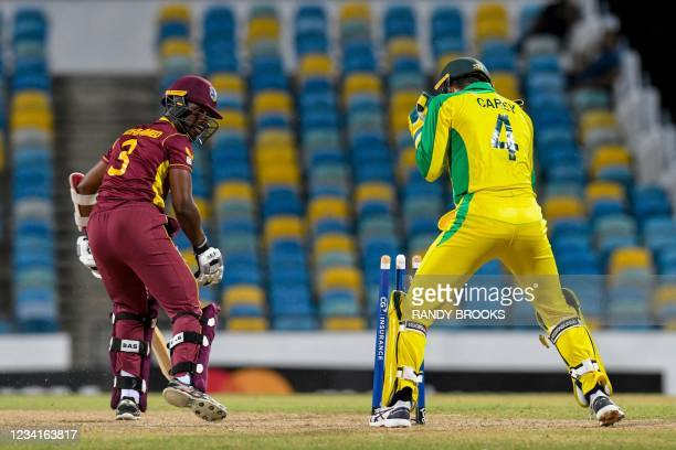 Jason Mohammed of West Indies bowled by Adam Zampa of Australia during the 2nd ODI between West Indies and Australia at Kensington Oval, Bridgetown,...