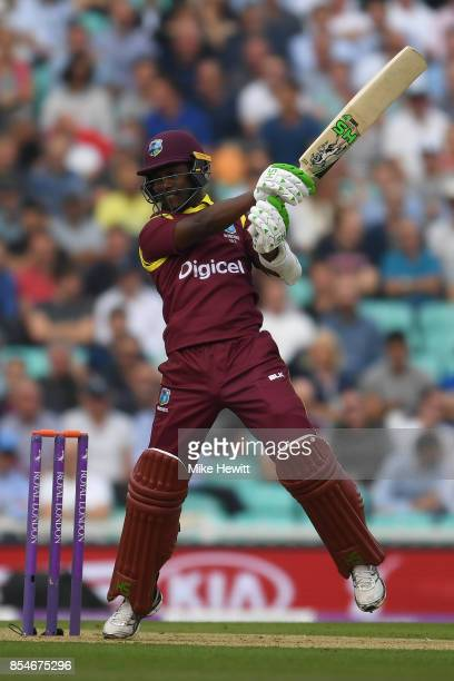 Jason Mohammed of West Indies hits out during the 4th Royal London One Day International between England and West Indies at The Kia Oval on September...