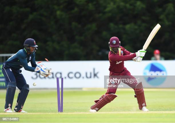Jason Mohammed of West Indies is bowled during the TriSeries International match between England Lions and West Indies A at The 3aaa County Ground on...