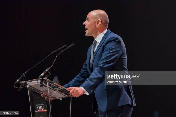 Jason Mohammed presents and award at the Audio Radio Industry Awards at First Direct Arena Leeds on October 19 2017 in Leeds England