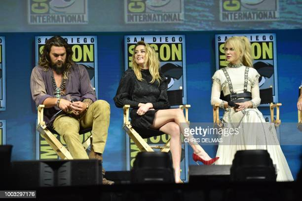 Jason Momoa Amber Heard and Nicole Kidman participate in the Warner Bros Theatrical Panel for 'Aquaman' during Comic Con in San Diego July 21 2018