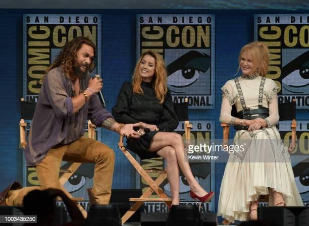 Jason Momoa Amber Heard and Nicole Kidman speak onstage at the Warner Bros 'Aquaman' theatrical panel during ComicCon International 2018 at San Diego...