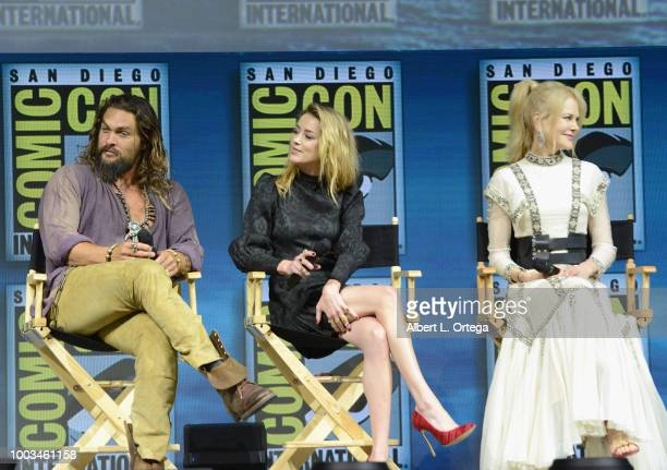 Jason Momoa Amber Heard and Nicole Kidman speak onstage at the Warner Bros 'Aquaman' theatrical panel during ComicCon International 2018 at San Diego...