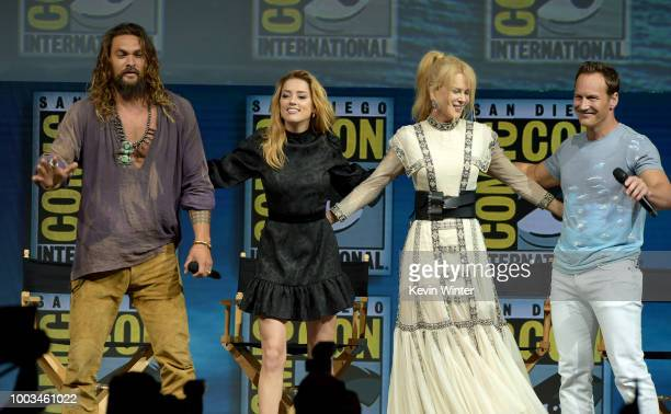 Jason Momoa Amber Heard Nicole Kidman and Patrick Wilson onstage at the Warner Bros 'Aquaman' theatrical panel during ComicCon International 2018 at...