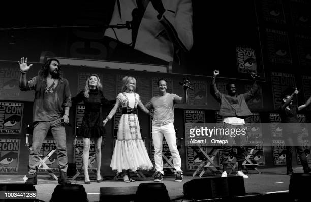 Jason Momoa Amber Heard Nicole Kidman Patrick Wilson Yahya AbdulMateen II and James Wan wave to the audience at the Warner Bros 'Aquaman' theatrical...