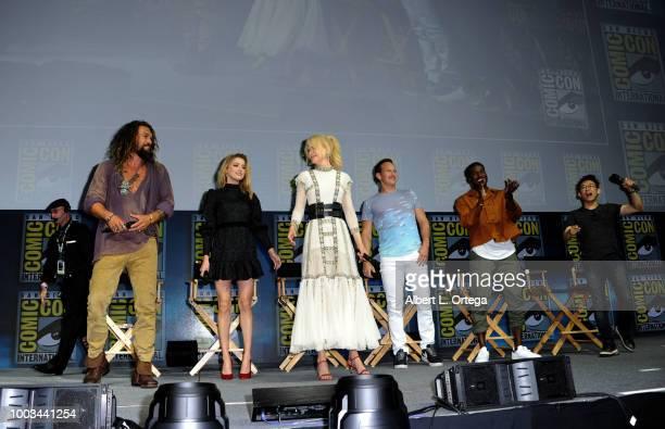 Jason Momoa Amber Heard Nicole Kidman Patrick Wilson Yahya AbdulMateen II and James Wan pose onstage at the Warner Bros 'Aquaman' theatrical panel...