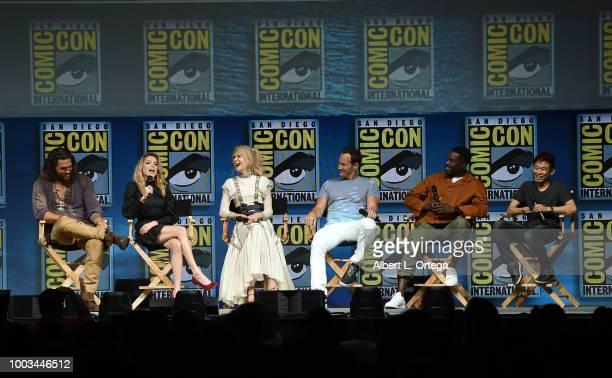 Jason Momoa Amber Heard Nicole Kidman Patrick Wilson Yahya AbdulMateen II and James Wan speak onstage at the Warner Bros 'Aquaman' theatrical panel...