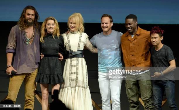 Jason Momoa Amber Heard Nicole Kidman Patrick Wilson Yahya AbdulMateen II and James Wan bow onstage at the Warner Bros 'Aquaman' theatrical panel...