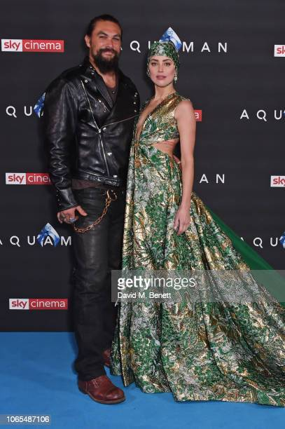 Jason Momoa and Amber Heard attend the World Premiere of 'Aquaman' at Cineworld Leicester Square on November 26 2018 in London England