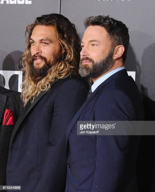 Jason Momoa and Ben Affleck attend the Los Angeles Premiere of Warner Bros Pictures' Justice League at Dolby Theatre on November 13 2017 in Hollywood...