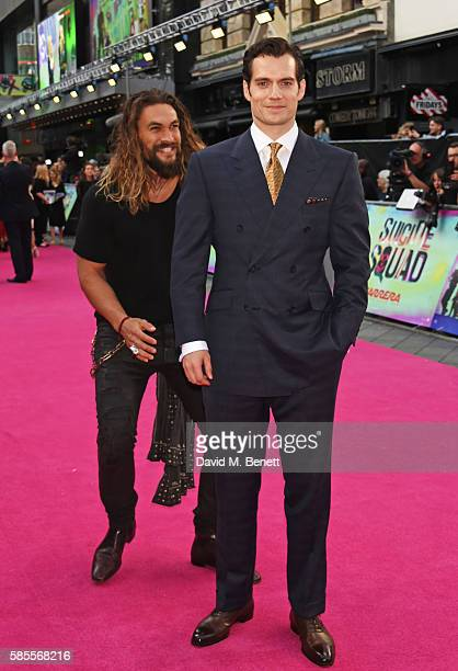 "Jason Momoa and Henry Cavill attend the European Premiere of ""Suicide Squad"" at Odeon Leicester Square on August 3, 2016 in London, England."