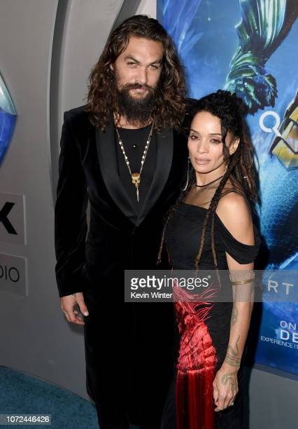 Jason Momoa and his wife Lisa Bonet arrive at the premiere of Warner Bros Pictures' Aquaman at the Chinese Theatre on December 12 2018 in Los Angeles...