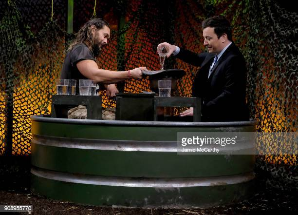 Jason Momoa and host Jimmy Fallon during the 'Water Wars' segment on 'The Tonight Show Starring Jimmy Fallon' at Rockefeller Center on January 22...
