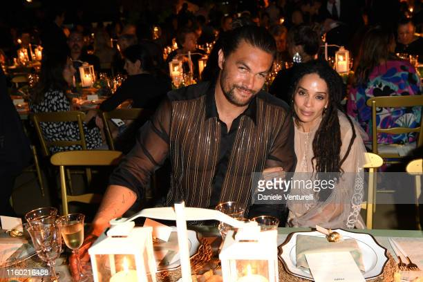 Jason Momoa and Lilakoi Moon attend the Fendi Couture Fall Winter 2019/2020 Dinner on July 04 2019 in Rome Italy
