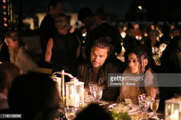 Jason Momoa and Lilakoi Moon attends the Fendi Couture Fall Winter 2019/2020 Dinner on July 04 2019 in Rome Italy