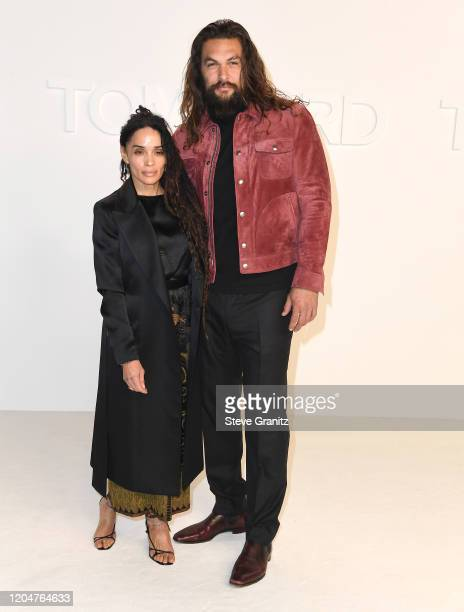 Jason Momoa and Lisa Bonet arrives at the Tom Ford AW20 Show at Milk Studios on February 07 2020 in Hollywood California