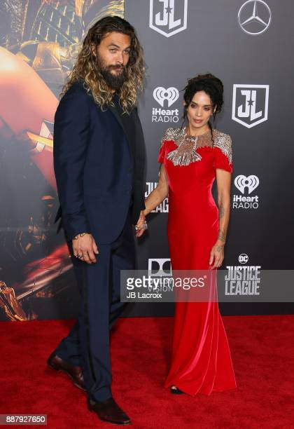 Jason Momoa and Lisa Bonet attend the premiere of Warner Bros Pictures' 'Justice League' on November 13 2017 in Los Angeles California
