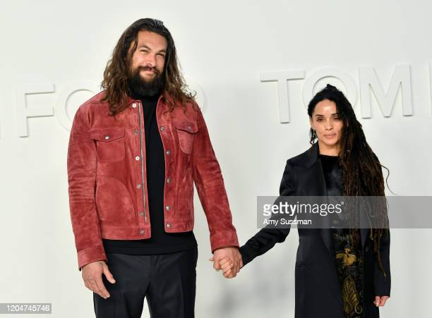 Jason Momoa and Lisa Bonet attend the Tom Ford AW20 Show at Milk Studios on February 07 2020 in Hollywood California