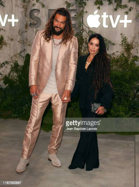 """Jason Momoa and Lisa Bonet attend the world premiere of Apple TV+'s """"See"""" at Fox Village Theater on October 21, 2019 in Los Angeles, California."""