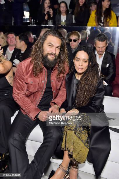 Jason Momoa and Lisa Bonet attends Tom Ford Autumn/Winter 2020 Runway Show at Milk Studios on February 07 2020 in Los Angeles California