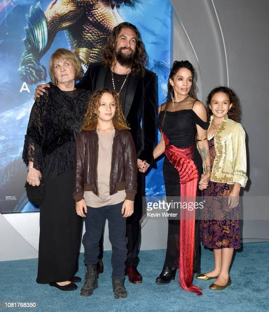Jason Momoa and Lisa Bonet with family during the premiere of Warner Bros Pictures' Aquaman at TCL Chinese Theatre on December 12 2018 in Hollywood...