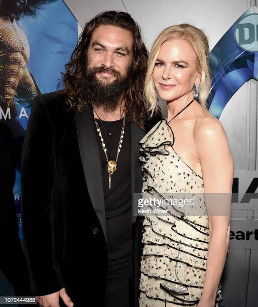 Jason Momoa and Nicole Kidman arrive at the premiere of Warner Bros Pictures' 'Aquaman' at the Chinese Theatre on December 12 2018 in Los Angeles...