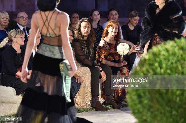Jason Momoa and Susan Sarandon attend the Fendi Couture Fall Winter 2019/2020 Show on July 04 2019 in Rome Italy