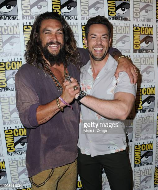 Jason Momoa and Zachary Levi attend the Warner Bros 'Aquaman'/'Shazam' theatrical panels during ComicCon International 2018 at San Diego Convention...