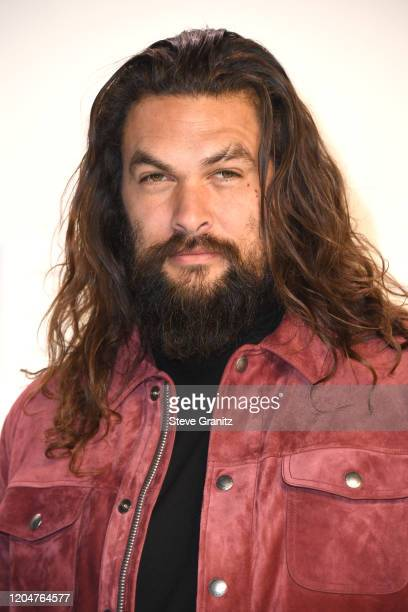 Jason Momoa arrives at the Tom Ford AW20 Show at Milk Studios on February 07 2020 in Hollywood California