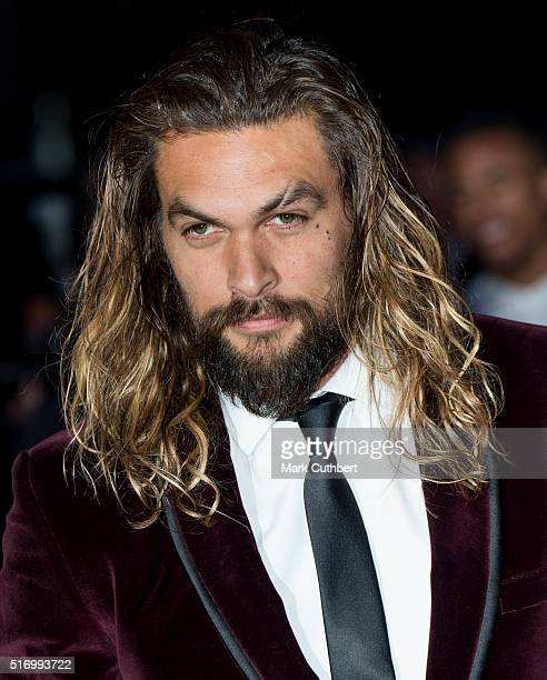 Jason Momoa arrives for the European Premiere of 'Batman V Superman Dawn Of Justice' at Odeon Leicester Square on March 22 2016 in London England