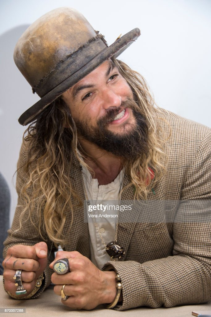 Jason Momoa at the 'Justice League' Press Conference at The Rosewood Hotel on November 3, 2017 in London, England.